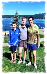 my running men. Elliott had just won his age group in the 5K. Justin had just run around Payette Lake. Alden had just won the Men's 5K. (Any of them can run a 5K in the time it takes me to run a mile, and that's okay.)