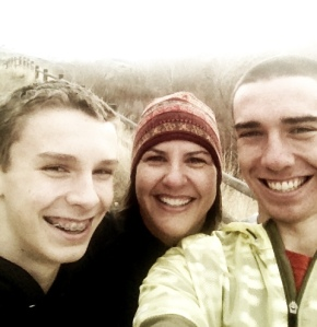 Christmas morning run with Elliott and Alden