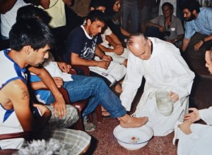 Washing feet on a previous Maundy Thursday in Argentina.