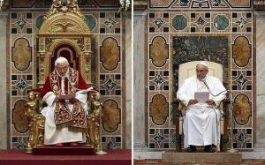 Two popes. Same place. Different chairs.