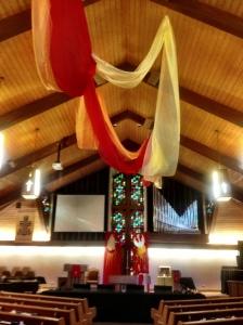 Sanctuary decorated for Pentecost
