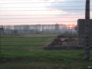 sunset at Birkenau-Auschwitz
