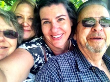selfie with mom, sis, and dad