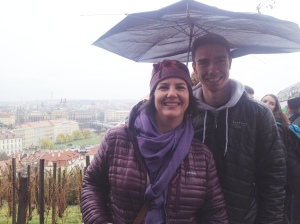with the best worst umbrella in Prague