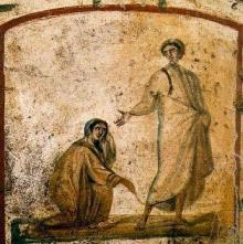 The Woman With The Flow of Blood, 3rd Century, Marcellinus and Peter Catacomb