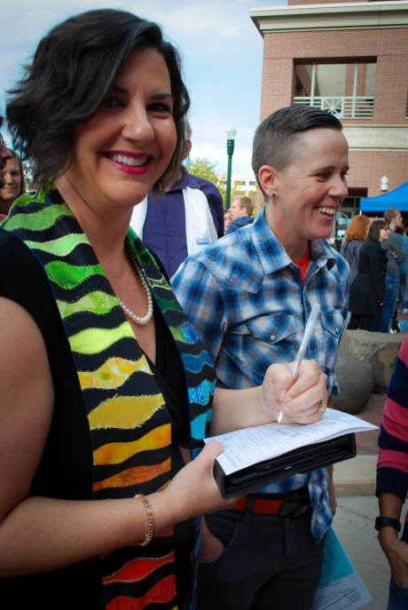 Signing a license on Idaho's first day of marriage eqaulity
