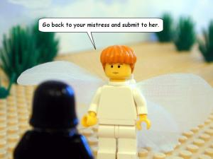 ugh. Really?  Image here:  http://www.thebricktestament.com/genesis/ishmael_is_born/gn16_09.html